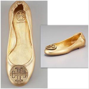 Reva Metallic Leather Ballerina, Gold Sz 7 EUC